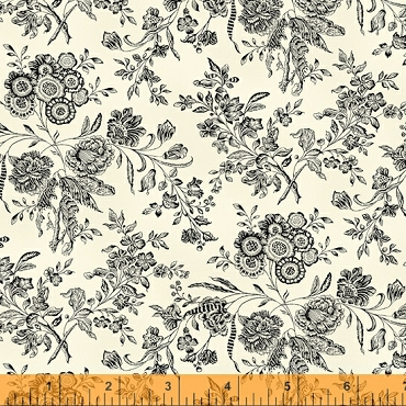 Eliza by Williamsburg 52404-1 Linen White Floral Toile from Windham Fabrics